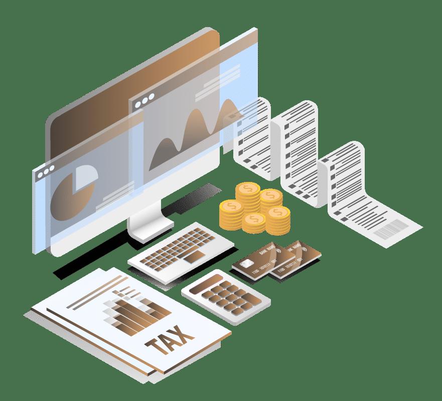 Image vectorielle d'un ordinateur avec des données d'argent